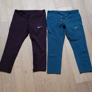 2 pair Nike Dri-Fit Running Capri pants M